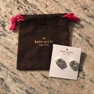 Kate Spade silver square stud diamond earrings